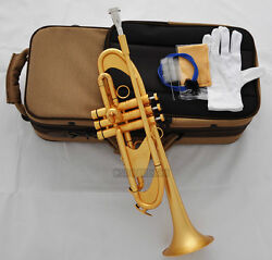 Professional Satin Gold Heavy Trumpet 4-7/8 Key Of Bb Horn Germany Brass +case