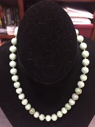 One Strand 11mm Jade Beads 37 Beads 14k White Gold Clasp Appraised W/ Cert