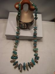 Native American Santo Doming 27 Inch Large Kingman Turquoise And Abalone Red Shell