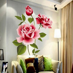 Large Rose Flower Wall Stickers DIY Art Removable Decals Home Room Decoration