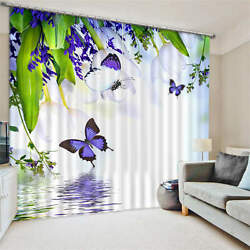 Purple Butterfly Water 3d Customize Blockout Photo Curtains Print Window Decor