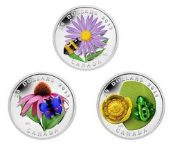2012-14 Canada 20 Silver Coins Venetian Glass Series Bumblebee Butterfly Frog