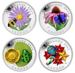 Canada 20 Venetian Glass Silver Coins Bumblebee Butterfly Frog Plus Candy Cane