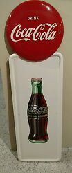 Coca Cola Pilaster Sign Mint Hard To Find In This Condition W/bracket