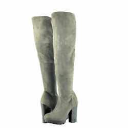 Womenand039s Shoes Bamboo Gaby 14s Over The Knee Stacked Heel Boot Taupe New
