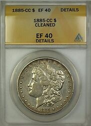 1885-cc Morgan Silver Dollar 1 Coin Anacs Ef-40 Details Cleaned
