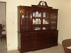 Antique Carved Mahogany Breakfront Bookcase Good Condition China Cabinet 84w 90h