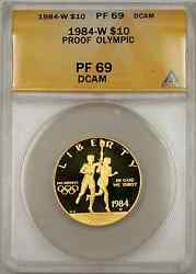 1984-w Proof Olympic Commemorative Gold Coin 10 Anacs Pf 69 Proof Dcam
