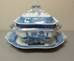 Rare Early Spodeand039s Camilla Blue Soup Tureen And Matching 17 Tray C. 1891-1920