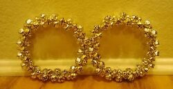 Jingle Bell Christmas Wreath 7 Gold And Silver Bells With Flexible Wire Set Of 2
