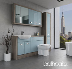 Bathroom Fitted Furniture Duck Egg Blue/driftwood A2 1500mm With Wall And Tall - B