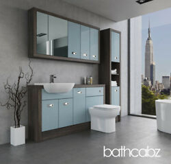 Bathroom Fitted Furniture Duck Egg Blue/mali Wenge A1 1500mm With Wall And Tall -