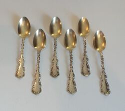 Set/6 Whiting Mfg. Co. Louis Xv Sterling Silver Partial Gilt 5 3/4 Teaspoons