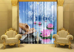 Lotus Flower Cloudy Sky 3d Blockout Photo Printing Curtains Draps Fabric Window
