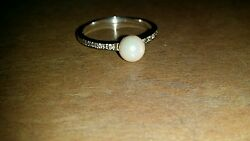 Goldwhite Pearl And Diamond Ring 2.33g 14 Kt Estate Testednot Scrap Or Wear