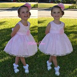 Satin Embroidery Dress Wedding Flower Girl Pageant Occasion Pink Size 9m-5 272