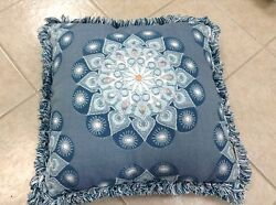 Frontgate Outdoor Patio Sira Medallion Chambray Blue Chair Sofa Throw Pillow New