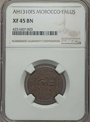 Ah 1310 Fs 1892 Morocco Falus Ngc Xf 45, Rare, Over 600 In Krause Catalog