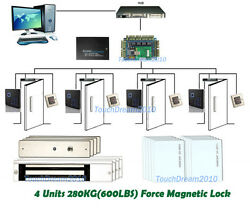 Security Access Control Systems For Four Door And 110-240v Power Box+rfid Reader