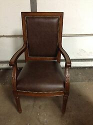 Frontgate Langston Office Leather Dining Back Side Arm Chair Wood Mahagony