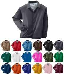 Menand039s Wind And Water Resistant Snap Front Pockets Lined Coaches Jacket S-5xl
