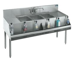 Krowne Metal 3 Compartment Bar Sink 19d W/ Two 18 Drainboards Stainless
