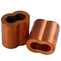 4 Copper Swage Sleeves For Wire Rope Cable, Size 5/16, Made In Usa