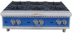 Globe Ghp36g 36 Natural Gas Hot Plate With 6 Burners And Manual Controls