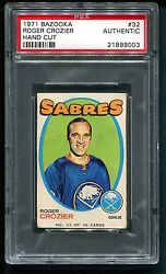 1971 Bazooka Roger Crozier 32 Hand Cut Very Rare Pop 1 Of 4 Total Psa Authentic