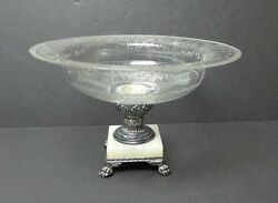 Gorgeous Pairpoint Guilford Crystal Wheel-cut And Engraved Compote / Centerpiece