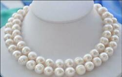 Double-strands Aaa 11-12mm South Sea White Pearl Necklace 14k Gold Clasp 18andlsquo 19andrsquo