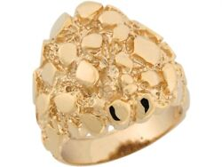 10k Or 14k Solid Yellow Gold Thick Unique Design Bold Mens Nugget Ring
