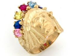10k Or 14k Gold 7 Stone Cz American Indian Large Mens Ring