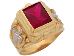 10k Or 14k Two-tone Gold Mens Wide Simulated Rectangle Ruby July Religious Ring