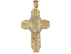 10k Or 14k Two-tone Gold White Cz Accented St. Jude Cross 11.5cm Big Pendant