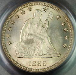 1889 Seated Liberty Silver Quarter Pcgs Ms-64+