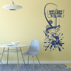 Walleye Fly Fishing Rod Welcome To The Lake Wooden Sign Vinyl Wall Decal K665