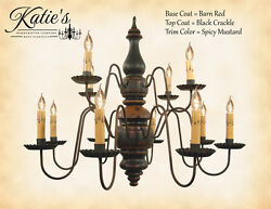 Charleston 2 Tier 12arm Wooden Chandelier By Katieand039s Lighting-8 Color Options