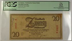 26.4.1945 Germany Dresden Saxony 20 Reichsmark Bank Note Pcgs F-12 Apparent