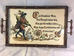 Vintage Pre-1900 German Ceramic Tile Serving Tray With Wood Frame Man With Axe