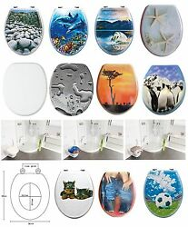 High Quality Printed Wc Toilet Seat Stable Chrome Hinges Wooden Mdf Toilet Seats