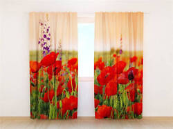 Red Flowers Field Farm 3d Blockout Photo Printing Curtains Draps Fabric Window
