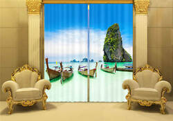 Guilin Mountain Lake Boat 3d Blockout Photo Printing Curtains Draps Fabric Windo