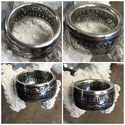 American History Quality 1921 Morgan Silver Dollar Hand Crafted Coin Ring