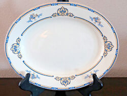 J. And G. Meakin England Sol The Belmont Oval 12 Platter Blue And Yellow Design