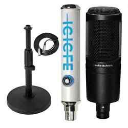 Audio Technica AT2020 Condenser Mic 25' XLR Cable Desk Stand Blue Icicle