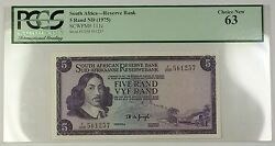 1975 No Date South Africa Reserve Bank 5 Rand Note Scwpm 111c Pcgs Choice 63