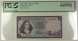 1975 No Date South Africa 5 Rand Bank Note Scwpm 111c Pcgs Very Choice 64 Ppq