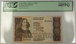 1982-85 No Date South Africa 20 Rand Bank Note Scwpm 121c Pcgs 68 Gem Ppq