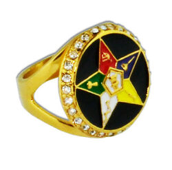 Masonic Rings Ebay Order Of The Eastern Star Rings Gold Color W/ Black Oes Ring